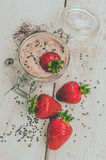 Homemade yogurt in a jar with strawberry Royalty Free Stock Photo