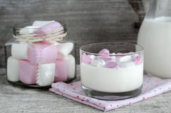 Homemade yogurt with marshmallow slices in a glass Stock Photos