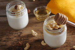 Homemade yogurt with nuts and honey Royalty Free Stock Photography