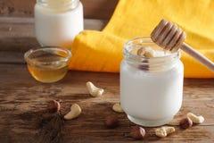 Homemade yogurt with nuts and honey Stock Image