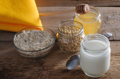 Homemade yogurt with nuts and honey Royalty Free Stock Image