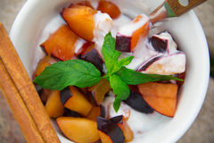 Homemade yogurt with pieces of plums in the white dish Royalty Free Stock Images