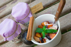 Homemade yogurt with pieces of plums in the white dish Royalty Free Stock Photos