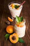 Homemade yogurt with ripe apricots Stock Images