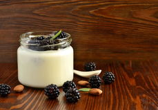 Homemade yogurt in small jars with berries, fruits, almonds Royalty Free Stock Photography