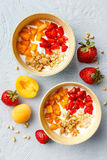 Homemade Yogurt With Granola, Apricot And Pine Nuts Stock Image