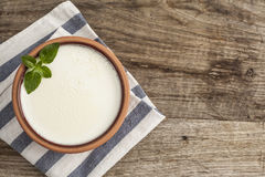 Homemade yogurt on wooden table Royalty Free Stock Photo