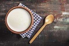 Homemade yogurt on wooden table Royalty Free Stock Photos