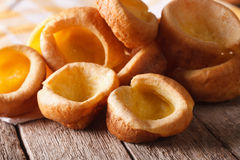 Homemade Yorkshire pudding close up on the table. horizontal Stock Photos