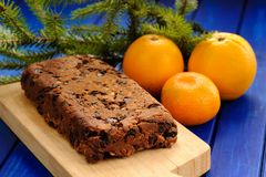 Homemade yummy vegan fruit cake with oranges and clementine deco Stock Photos