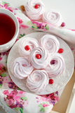 Homemade zefir (marshmallows) and cup of tea Royalty Free Stock Image