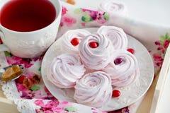 Homemade zefir (marshmallows) and cup of tea Stock Photography