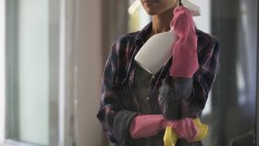 Homemaker cleaning house, creating atmosphere of cleanliness and comfort. Stock footage stock video footage