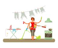 Homemaker is cleaning Royalty Free Stock Images