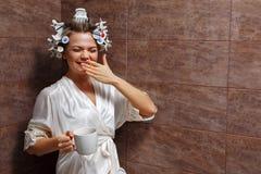 Homemaker drinking morning coffee Stock Photo