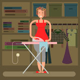 Homemaker is ironing Stock Images