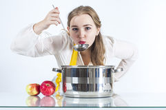 Homemaker with ladle Royalty Free Stock Photo