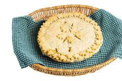 Homemdae peach pie in wicker basket Royalty Free Stock Photo