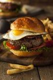 Homemmade Bacon Hamburger with Egg Stock Photos