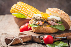 Homemmade Bacon Hamburger with fried Egg Royalty Free Stock Image