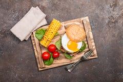 Homemmade Bacon Hamburger with fried Egg Royalty Free Stock Photo