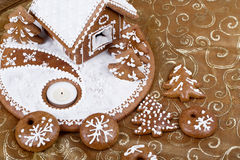Homenade Holiday Gingerbread house Stock Photos