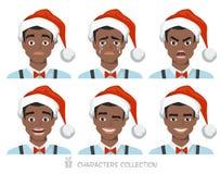 Homens americanos do africano negro no chapéu de Santa com emoções diferentes Imagem de Stock Royalty Free