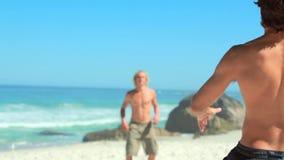 Homens atléticos que jogam com uma bola de rugby video estoque