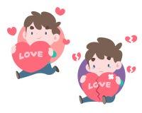 Homens bonitos do estilo dois que guardam corações grandes na ilustração diferente do humor ilustração stock