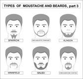 Homens, caras, uma cole??o dos bigodes e barbas, varia??es do car?ter ilustração stock