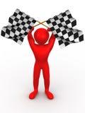 Homens com bandeiras checkered Imagem de Stock Royalty Free