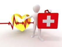 Homens com caso médico e pulsação do coração ilustração royalty free