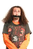 Homens com a fita adesiva na boca Fotos de Stock