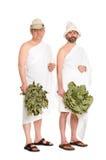 Homens com os galhos do carvalho para o banho do russo fotografia de stock royalty free