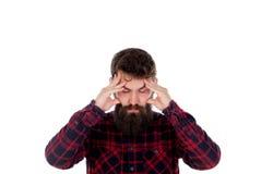 Homens consideráveis com as orelhas longas da coberta da barba imagem de stock