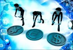 homens 3d com ilustração do sinal do euro e de ienes do dólar Fotografia de Stock Royalty Free