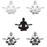 Homens da ioga do vetor em uma posição de lótus Imagem de Stock Royalty Free
