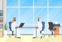 Homens de negócio árabes que encontram-se, conceito de uma comunicação de Interview Or Brainstorming do homem de negócios de dois ilustração royalty free