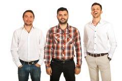 Homens de negócio macio do sorriso, do sorriso e do riso Imagem de Stock