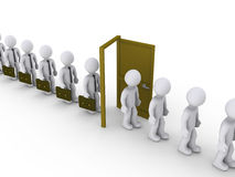 Homens de negócios através da porta do desemprego ilustração stock