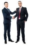 Homens de negócios bem sucedidos que agitam as mãos foto de stock
