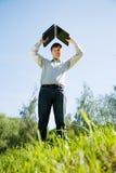 Homens de negócios com portátil cinzento Fotografia de Stock