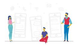Homens de negócios com smartphones - ilustração colorida do estilo liso do projeto Fotografia de Stock Royalty Free
