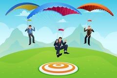 Homens de negócios com um paraquedas Imagem de Stock