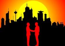 Homens de negócios de encontro à baixa no por do sol ilustração royalty free