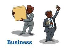 Homens de negócios dos desenhos animados com dinheiro e caixa Imagens de Stock Royalty Free