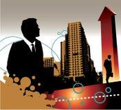 Homens de negócios e edifícios ilustração stock