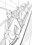 Homens de negócios e mulher de negócios na escada rolante Fotografia de Stock Royalty Free