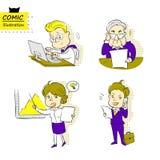 Homens de negócios e mulher de negócios (Vetor) Imagem de Stock