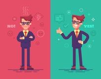 Homens de negócios irritados e positivos Caráteres engraçados com ícones do humor no fundo Imagens de Stock